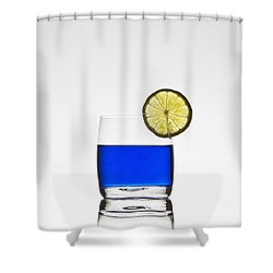 Blue Cocktail With Lemon Shower Curtain by Joana Kruse