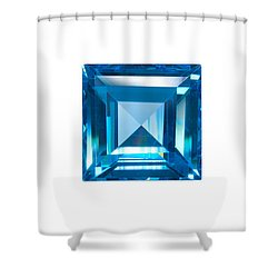 Blue Sapphire Isolated Shower Curtain by Atiketta Sangasaeng