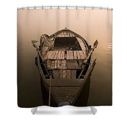Boat In The Water, Varanasi, India Shower Curtain by Keith Levit