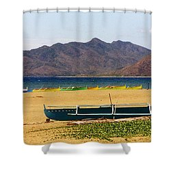 Boats On South China Sea Beach Shower Curtain