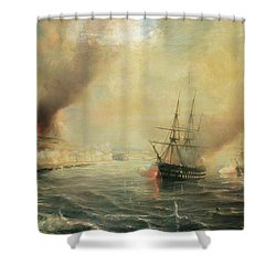 Bombardment Of Sale Shower Curtain by Jean Antoine Theodore Gudin