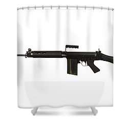 British L1a1 Self-loading Rifle Shower Curtain by Andrew Chittock
