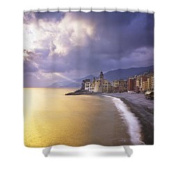 Buildings Along The Coast At Sunset Shower Curtain by David DuChemin