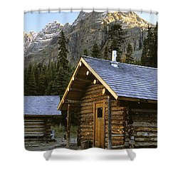 Cabin In Yoho National Park, Lake Shower Curtain by Ron Watts