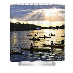 Canoeing Shower Curtain by Elena Elisseeva