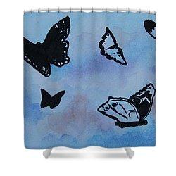 Chasing Butterflies Shower Curtain by Jan Bennicoff
