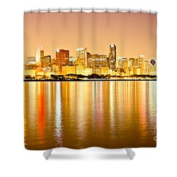 Chicago Skyline At Night Photo Shower Curtain by Paul Velgos