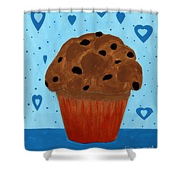 Chocolate Chip Cupcake Shower Curtain by Barbara Griffin