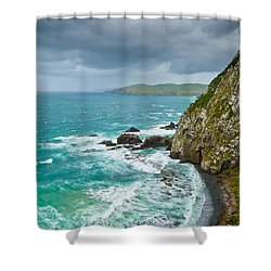 Cliffs Under Thunder Clouds And Turquoise Ocean Shower Curtain by Ulrich Schade