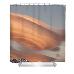 Clouds At Sunset Above Mountain Peaks Shower Curtain by Eryk Jaegermann