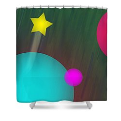 Cmyk Spheres Shower Curtain by Xueling Zou