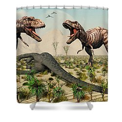 Confrontation Between A Pair Of T. Rex Shower Curtain by Mark Stevenson