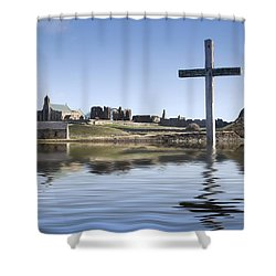 Cross In Water, Bewick, England Shower Curtain by John Short