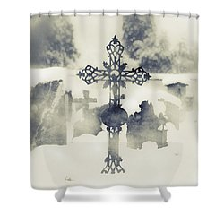 Cross Shower Curtain by Joana Kruse