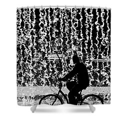 Cycling Silhouette Shower Curtain by Carlos Caetano