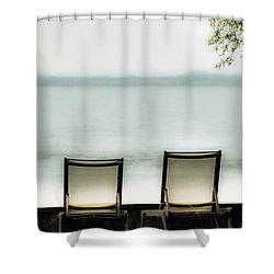 Deck Chairs Shower Curtain by Joana Kruse