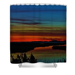 Deep Marshland Sunset Shower Curtain