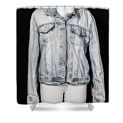 Denim Jacket Shower Curtain by Joana Kruse