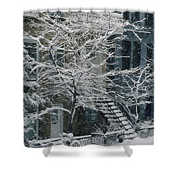 Drolet Street In Winter, Montreal Shower Curtain by Yves Marcoux