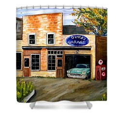 Duke's Garage Shower Curtain by Renate Nadi Wesley