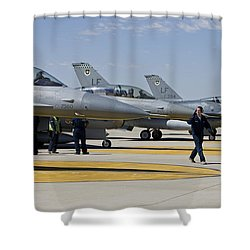 F-16 Pilots Work With Crew Chiefs Shower Curtain by HIGH-G Productions