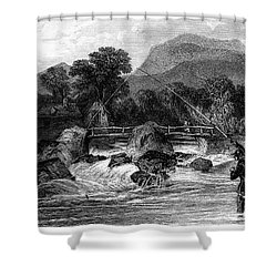 Fishing, 19th Century Shower Curtain by Granger
