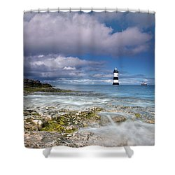 Fishing By The Lighthouse Shower Curtain by Beverly Cash