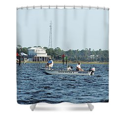 Fishing The Flats Shower Curtain by Marilyn Holkham
