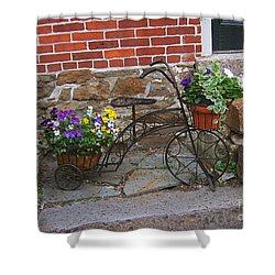 Flower Bicycle Basket Shower Curtain