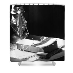 Follow The Light Shower Curtain by Empty Wall