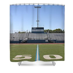 Shower Curtain featuring the photograph Football Field Fifty by Henrik Lehnerer