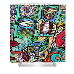 Frida's Garden Owl And Cat Shower Curtain by Sandra Silberzweig