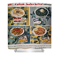 Frozen Food Ad, 1957 Shower Curtain by Granger