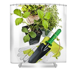 Gardening Tools And Plants Shower Curtain by Elena Elisseeva