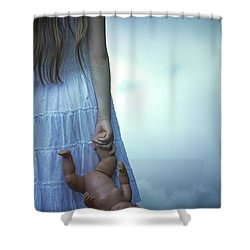 Girl With Baby Doll Shower Curtain by Joana Kruse
