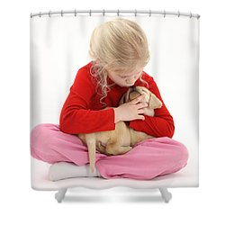Girl With Puppy Shower Curtain by Mark Taylor
