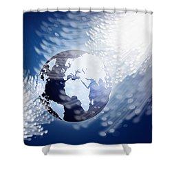 Globe With Fiber Optics Shower Curtain by Setsiri Silapasuwanchai