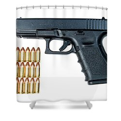 Glock Model 19 Handgun With 9mm Shower Curtain by Terry Moore