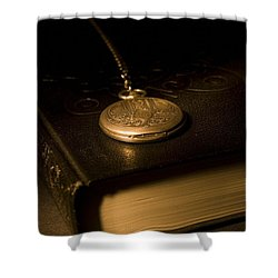 Gold Pocket Watch Resting On A Book Shower Curtain by Philippe Widling