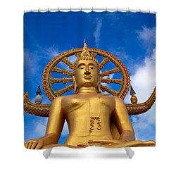 Golden Buddha Shower Curtain by Adrian Evans