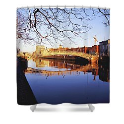 Hapenny Bridge, River Liffey, Dublin Shower Curtain by The Irish Image Collection