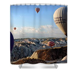 Hot Air Balloons Over Cappadocia Shower Curtain by RicardMN Photography