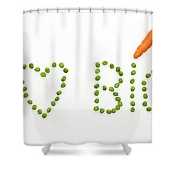 I Love Bio Shower Curtain by Joana Kruse