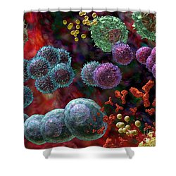 Immune Response Antibody 4 Shower Curtain by Russell Kightley