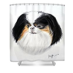 Shower Curtain featuring the drawing Japanese Chin Dog Portrait by Jim Fitzpatrick