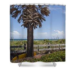 Juan Ponce De Leon Landing Site In Florida Shower Curtain by Allan  Hughes