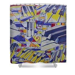 Jumping Jazz Shower Curtain by Jan Bennicoff