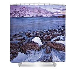 Kathleen Lake At Sunrise, Kluane Shower Curtain by Robert Postma