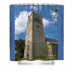 Laxfield Church Tower Shower Curtain by Ann Horn