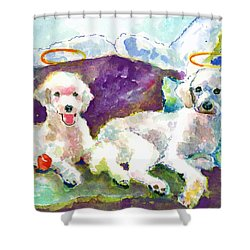 Little Angels Poodles Shower Curtain by Marsden Burnell